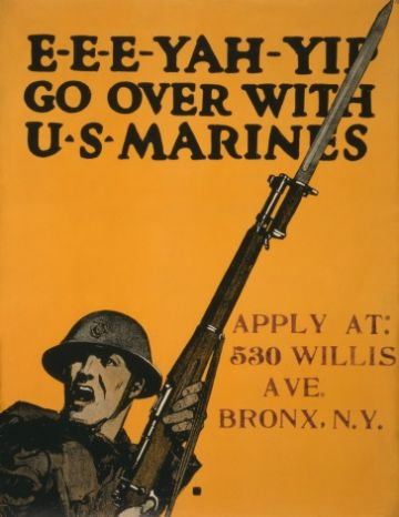 "Vintage World War Poster ""E-e-e-yah-yip Go over with U.S. Marines"""